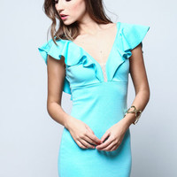 MINT RUFFLE PLUNGE BODYCON DRESS