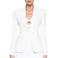 One Button Acetate-Blend Jacket in Ivory