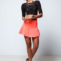 CORAL FLARED RUFFLE SKIRT