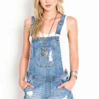 SHREDDED CRISS CROSS OVERALLS