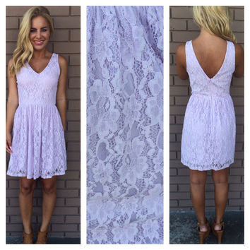 Lilac Floral Lace Cheryl Babydoll Dress