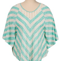 Crochet neck striped plus size poncho