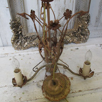 French chandelier antique rusty acanthus leaves flowers tole shabby chic rhinestone crystal adorned lighting fixture anita spero