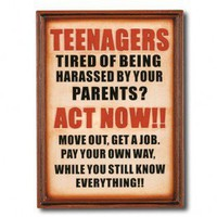 "RAM Gameroom ""Note To Your Teenagers"" Outdoor Sign - ODR821 - Outdoor Art - Wall Art & Coverings - Decor"