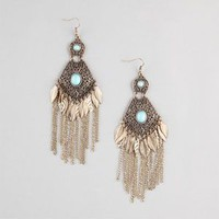 FULL TILT Leaf & Chain Fringe Filigree Earrings