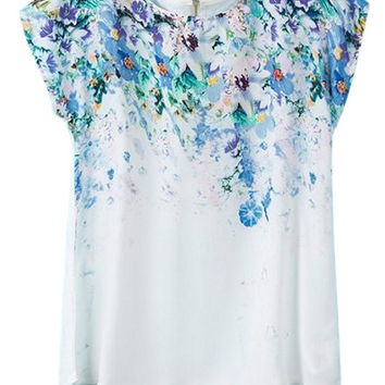 ROMWE Floral Print Asymmetric Zippered White T-shirt