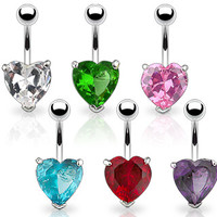 Cz Gem Heart Shaped Non Dangle Belly Button Ring Body Jewelry Piercing
