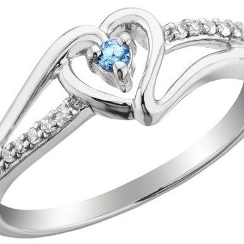 Swiss Blue Topaz Heart Promise Ring with Diamonds 1/10 Carat (ctw) in Sterling Silver