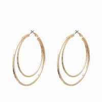 Zig Zag Textured Oversized Double Hoop