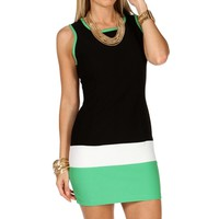 Black/Ivory/Mint Colorblock Short Dress