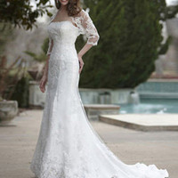 Hot Sale Cheap Elegant Lace Trumpet / Mermaid Wedding Dress Online 2011 Free Shipping