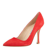 Manolo Blahnik BB Suede Point-Toe Pump, Red