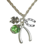 Lucky Charm Necklace, Wishbone, Four Leaf Clover, Horse Shoe, and Green Rondel, Graduation Necklace
