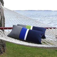 OUTDOOR Pillow Cover - Dazzling Blue Stripe (Custom Colors) by JillianReneDecor - Gray, White & Navy - Spring Summer Decor