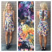 Fluorescent Floral Babydoll Dress - BLACK
