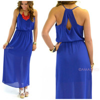 Lady Luck Sheer Blue Maxi Dress