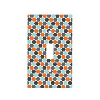 Gray orange aqua blue geometric hexagon pattern