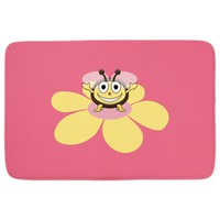 Pink Happy Cartoon Bee Bathmat