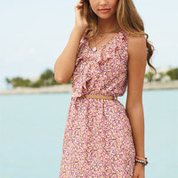 Ruffle Floral Belted Dress