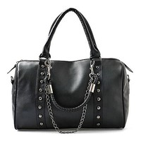 Unisex Black Chain Rivets Purse Handbag Duffle Shoulder Bag