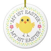 My first Easter cute chicken custom photo and name ornament