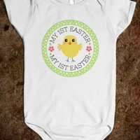 MY FIRST EASTER ONE-PIECE WITH CUTE CHICKEN INSIDE GREEN BORDER