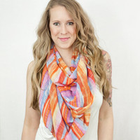 Chiffon Scarf Striped Head Wrap Stripes Radiant Orchid Blue Orange Infinity Long Wide Sheer