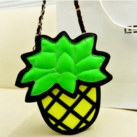 Free shipping, 2013 new European and American pineapple bag chain handbag shoulder mini cute cartoon wave hit the color package-in Messenger Bags from Luggage & Bags on Aliexpress.com