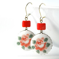 Dangle Earrings - Italian Roses - Pink Green Flowers on White Romantic Fabric Covered Buttons - Shabby Chic Earrings with Czech Glass Beads