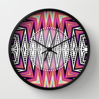 ZigZag Tribal Energy Wall Clock by Webgrrl | Society6