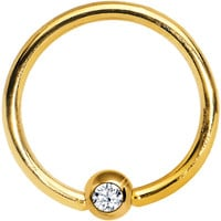 "16 Gauge 3/8"" Clear Crystal Gold Titanium BCR Captive Ring 