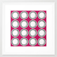 Circle Pattern Pink Framed Art Print by Claudia McBain | Society6