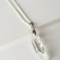 Clear Quartz Crystal Necklace on Sterling Silver Chain / Gemstone Necklace