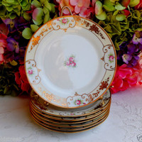 6 Antique Noritake ~ Nippon Porcelain Plates Hand Painted Roses ~ Gold Gild