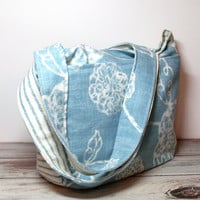 Summer Handbag - Blue Canvas Purse  - Blue Floral Bag - Tote Purse - Hobo Bag - Summer Bag