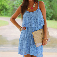 Eyelet Love Dress, Light Blue