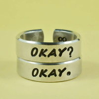 OKAY? OKAY. Ring Set, The Fault In Our Stars Inspired Cuff Rings, Hand Stamped Aluminum Ring, TFIOS Rings