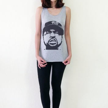Ice Cube Tank Top NWA Shirt Hip Hop Rapper Women T-Shirts Girl Hipster Shirts