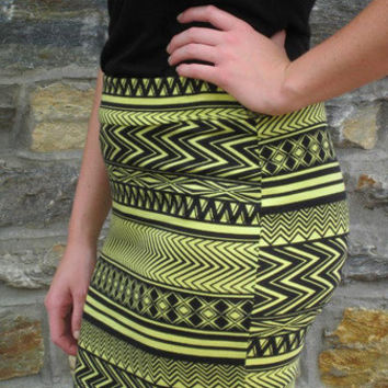 Mini Skirt -- Yellow Tribal