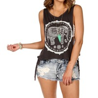 Charcoal Tribal Side Tie Tank
