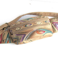 Vintage Tribal Southwestern Leather Fanny Pack. Hand Painted Genuine Leather Belt Purse Adjustable Belt