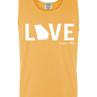 Custom Georgia Love Comfort Color Tank Top.  Show Your state pride and state love. Perfect for the Summer and the Beach
