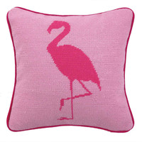 Flamingo 12x12 Wool Pillow, Pink