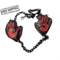 Bloody hand print blood splatter necklace - horror jewelry  deathrock gothic psychobilly necklace