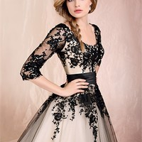 Ball Gown With Sleeves And Black Lace Floor-Length Cheap 2014 Wedding Gowns BABG009