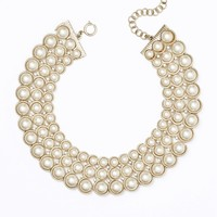 Pearlized Triple Strand Choker Necklace