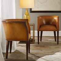 Modern History Home Continental Leather Barrel Chair