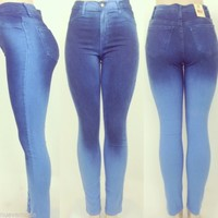 High Waist Blue Fade Ombre Skinny Jean Pants NEW Spring Color!