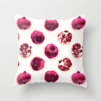 Pink Pomegranate Polka Dots Throw Pillow by micklyn | Society6