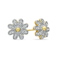 Diamond Accent Daisy Stud Earrings in Sterling Silver and 14K Gold Plate - View All Earrings - Zales